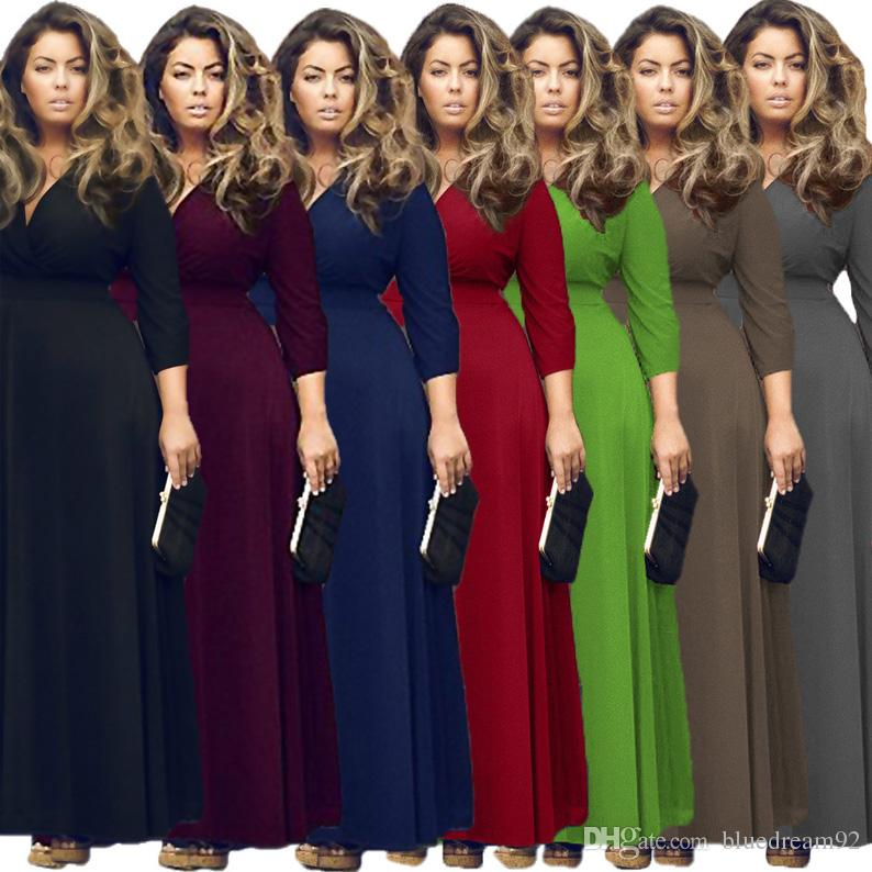93c8b5c11d6 Sexy Plus Size Dresses Pure Color Fat Woman Black Dress Fashion Maxi Club  Party Dresses Casual Dresses For Women Clothing Pink Dresses Fashion Dresses  From ...