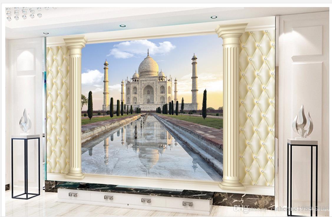 Top style européen classique 3D Stéréo 3D doux tissu Arbres Colonnes romaines Architecture européenne Murs TV