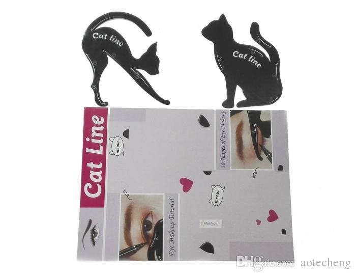 Kedi Eyeliner Stencil kaşlar kılavuzu şablonu kiti Maquiagem göz farı çerçeveleri kart makyaj araçları ücretsiz kargo