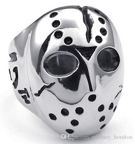 Polished Stainless Steel Mens Ring Halloween Jason Mask Band Silver Black US Size 7 to 14 Drop Shipping