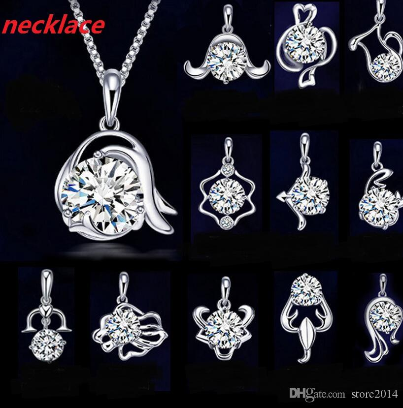 Popular 12 Zodiac Signs 925 Silver Plated Jewelry Set Fashion Crystal Pendants Necklaces Bracelet Ring Stud Earrings Set For Women Girl Gift