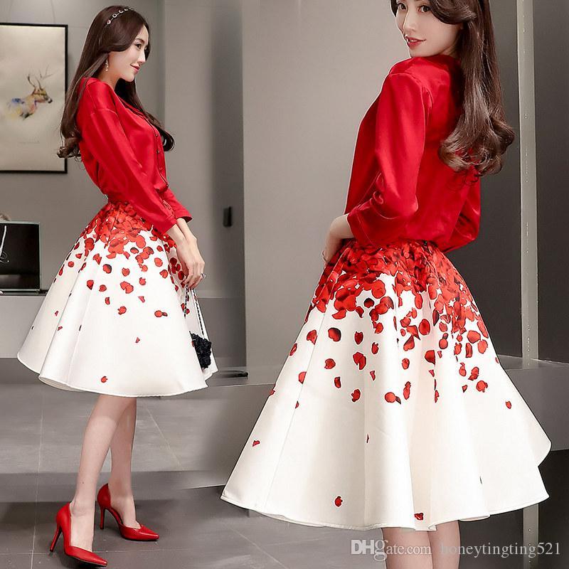 789c9123334 Compre Primavera Mujer Tres Cuartos Manga Corta Camisa Con Cuello Vuelto Y  Estampado De Flores Cintura Alta Vestido De Bola Falda Midi 2 Piezas  Vestido ...