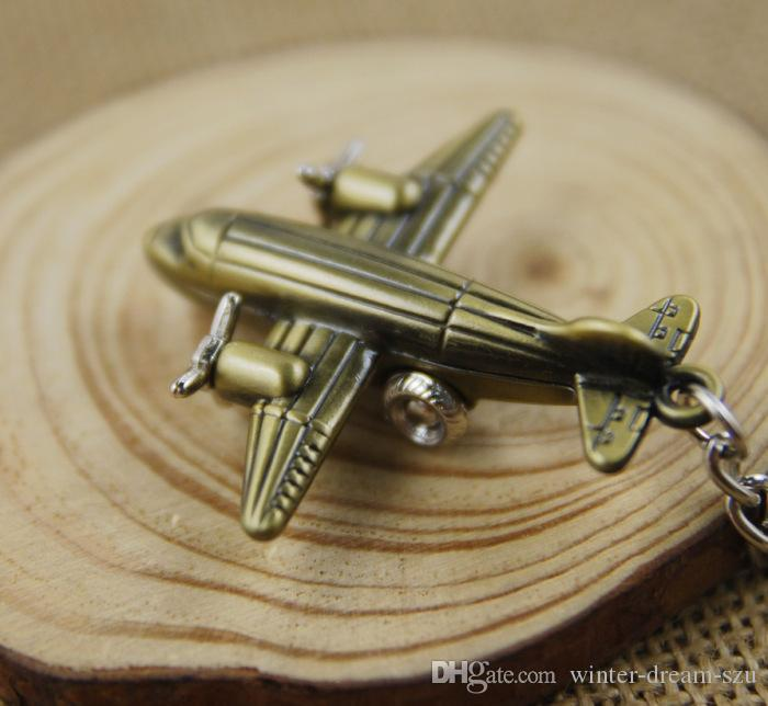 Fashion Mini 3D Airplane Keychain Aircraft Pendant Keyring Keyfob Small Plane Key Chain Cute Christmas Gift C14L