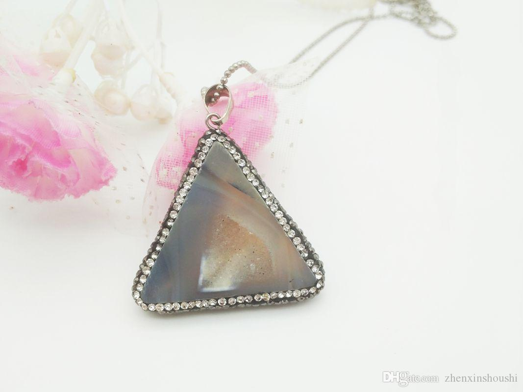 2 piezas Nueva moda natural de cristal de ágata colgante, simple y hermosa dama joya colgante collar accesorios, regalo de navidad