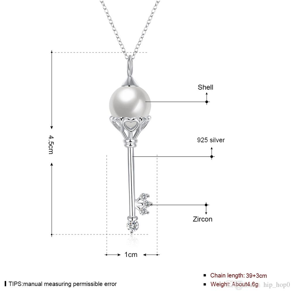 100% Real 925 Sterling Silver Simulated Pearl Fashion Key Charms Pendant Necklaces for Women Lover Gift Silver Chain Zircon Crystal Necklace
