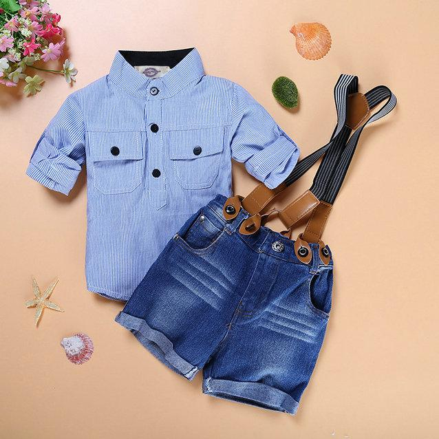 a6fa7df56 Kids boys clothing suit baby sets shirt + jeans with braces gentleman children  clothes set free shipping