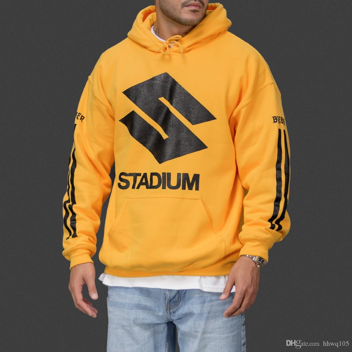 super popular 219e1 7995f Justin Bieber Zweck Tour Stadium Hoodie Männer Frauen Gelb Pullover Fleece  Hoodie Mode Winter Skateboards Sport Sweatshirt YYG1015