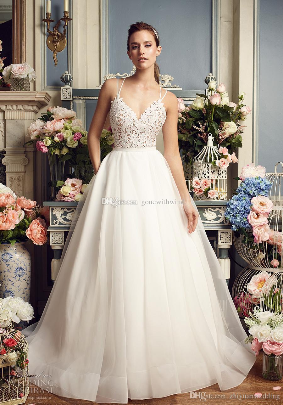 Discount Romantic A Line Wedding Dresses 2017 Mikaella Bridal Lace