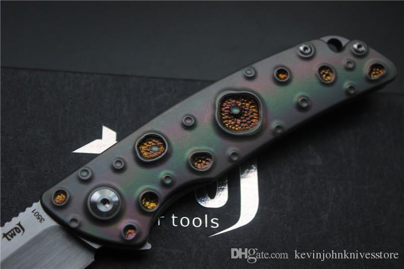 Envío gratis, Cuchillo plegable TWOJ 3501 de alta calidad, Hoja: S35VN satinado, Mango: Rodamiento plano TC4 Cuchillo plegable para acampar al aire libre EDC