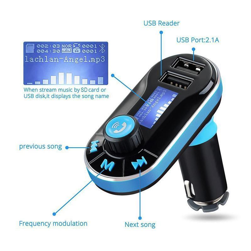 سيارة مشغل MP3 الصوت Bluetooth FM مرسل BT66 اللاسلكية بلوتوث سيارة كيت يدوي شاشة LCD شاحن USB