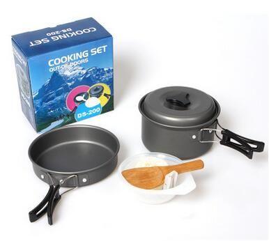 Onfine yeni arrivel 8 adet Açık Kamp Yürüyüş Tencere sırt çantası Piknik Bowl Pot Pan Set 2 ~ 3 Kişi toptan
