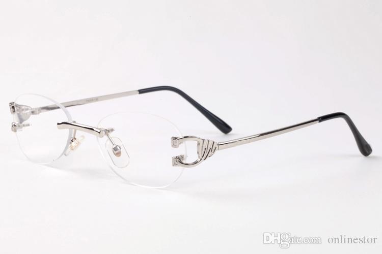 2017 Çerçevesiz Degrade Moda Güneş Kadınlar Boy Şeffaf Lens Optik Metal Çerçeve UV400 Vintage Buffalo Güneş Gözlükleri Retro Gözlük