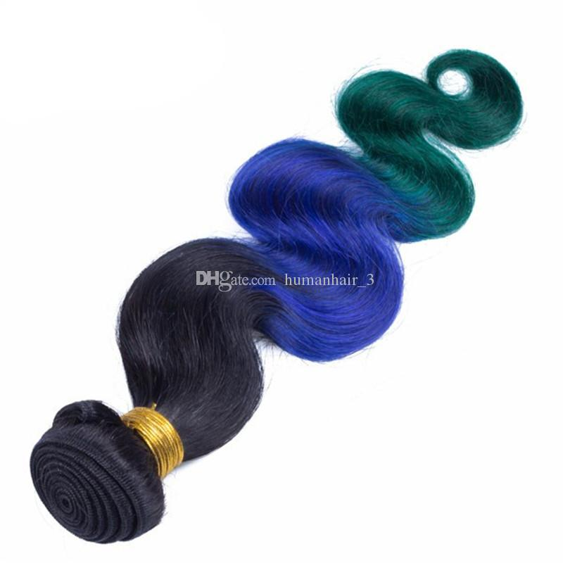 #1B Blue Green Ombre Brazilian Hair 3Bundles With Lace Closure Dark Roots Three Tone Body Wave Ombre Hair Weaves With Closure