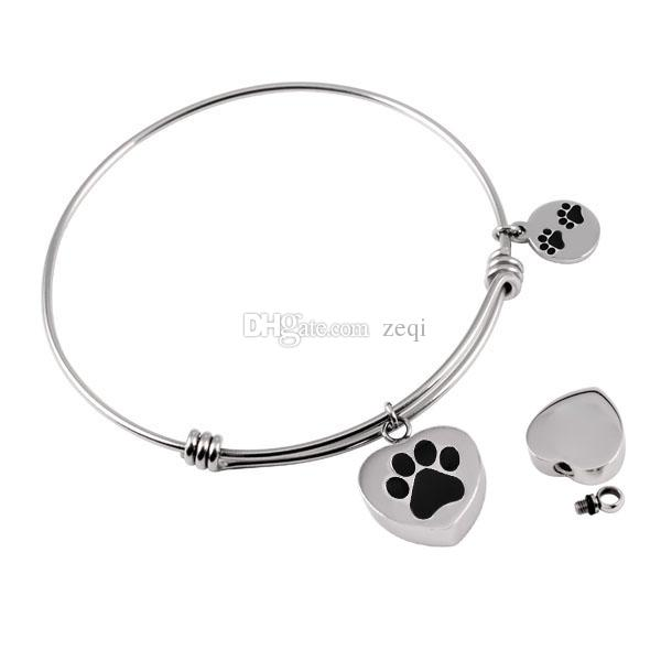 IJB0382 Paw Print Heart Charm Stainless Steel Expandable Wire Bracelet Pet Ashes Urn Holder Women's Fashion Bangle