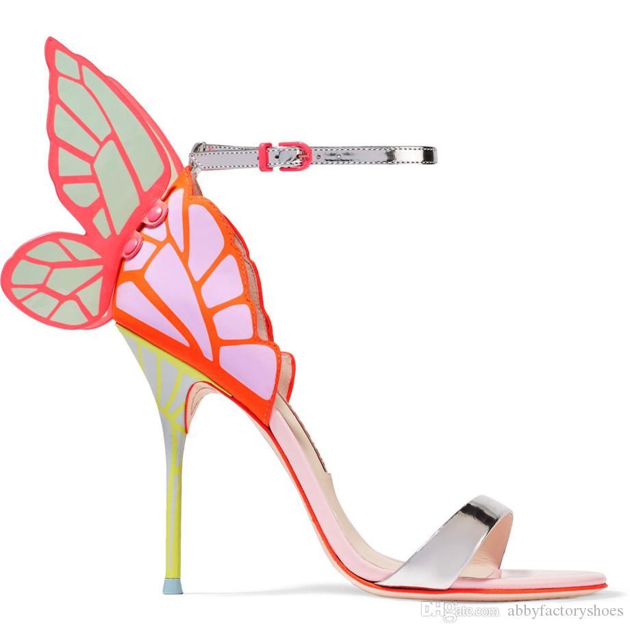 Sandali farfalla Hot Webster di marca Sophia Webster Evangeline Sandali con ali d'angelo tacco alto Sandali con cinturino alla caviglia con cinturino alla caviglia