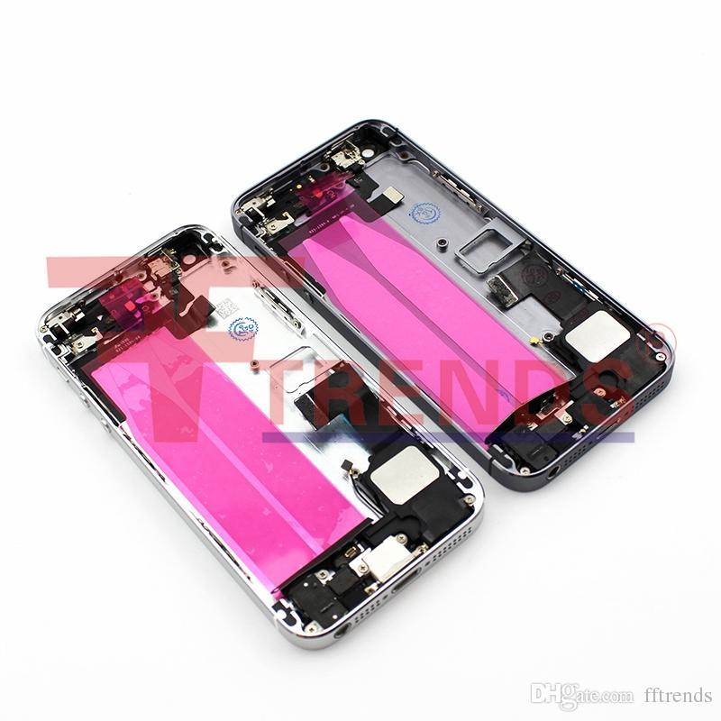 Para o iphone 5s substituição liga de metal duro de volta caso da bateria tampa de volta habitação com botão lateral sim bandeja pequenas peças de prata cinza