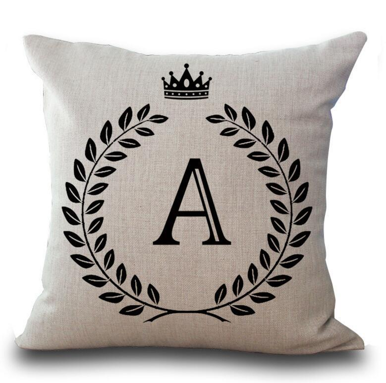 45*45cm English Letter Initials Pillow Case Cushion Cover Linen Cotton Throw Pillowcases Sofa Car Pillow Cover