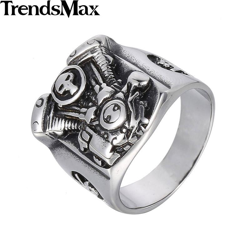 Trendsmax Cool Punk Silver Tone Motorcycle Engine Skull Ring Mens