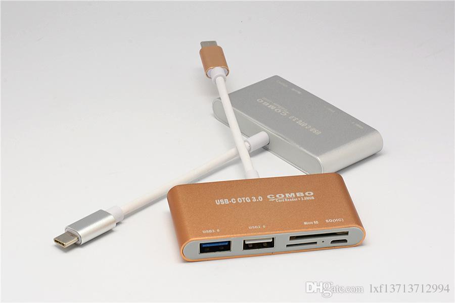 Hub USB-C OTG, USB-C vers USB 3.0 + USB 2.0 + Lecteur de carte TF / SD / MicroSD + Micro USB - Câble de connecteur adaptateur en aluminium pour Macbook Pro / ChromeBook /