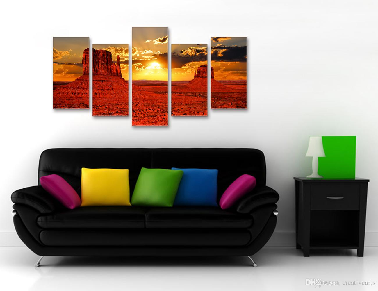 Doğa Manzarası Günbatımı Fotoğrafçılığı Baskı Amerikan Manzara Anıt Vadi Fotoğraf Tuval Baskı DIY için Olmayan Çerçeve 5 Parça