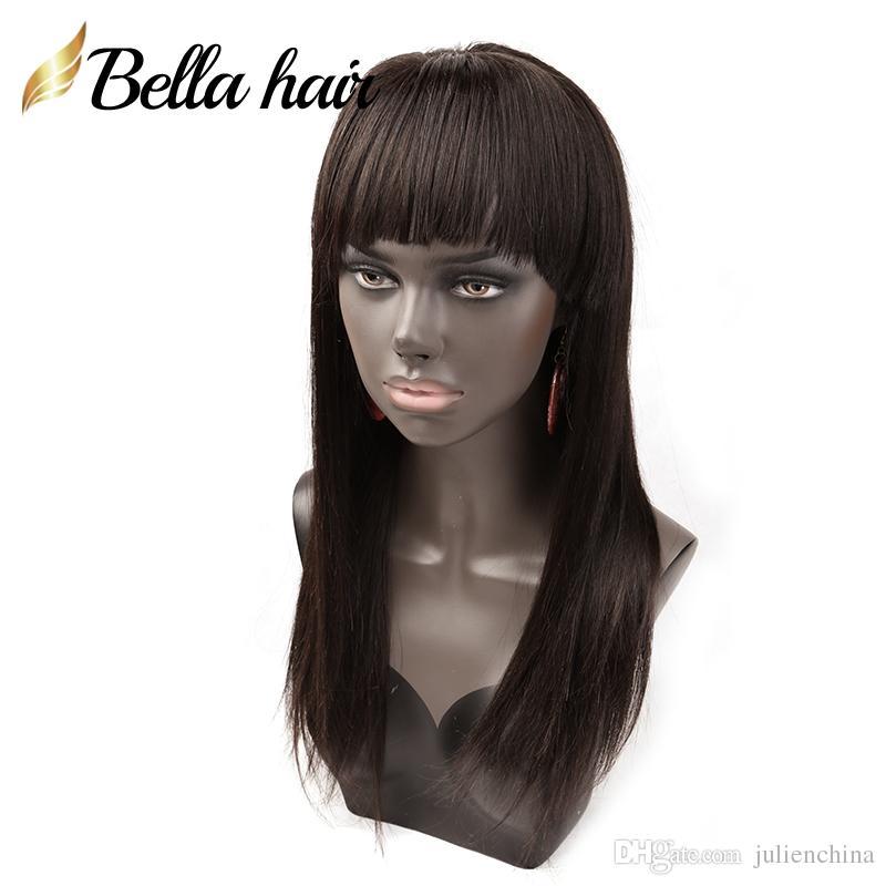 Silky Straight Hair Pruiken 100% Indian Virgin Menselijk Haar Pruiken met Bang Voor / Volledige Kant Pruiken Julienchina Bella Haar