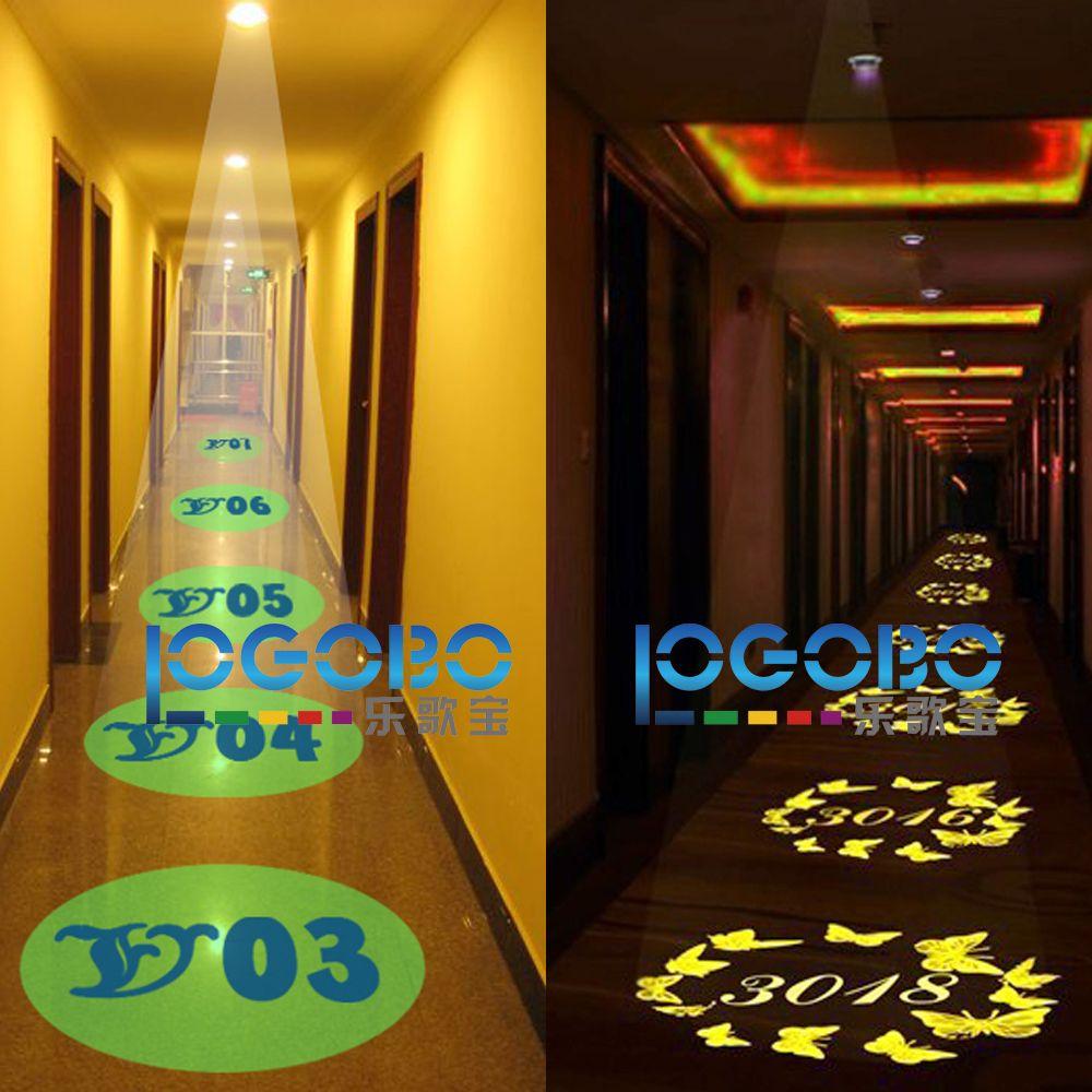 15W Led Gobo 프로젝터 조명이 켜진 객실 번호 표시가 교체 가능한 맞춤 디자인으로 표시 KTV 클럽 장식에 대한 로고 패턴 아이디어
