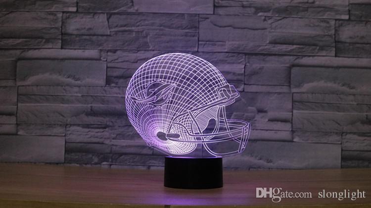 Ücretsiz Kargo 3D Optik Illusion Lamba Yunuslar futbol kask Gece ışıkları Renkli LED Yaratıcı Gadget Kida Kiddie Hediye