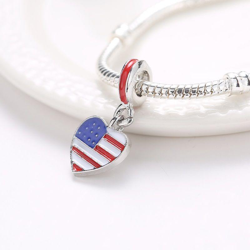 ABD bayrağı Charm fit Pandora Bilezik Pandora Kolye Kalp Yağ Charm Boncuk Kolye Uyar