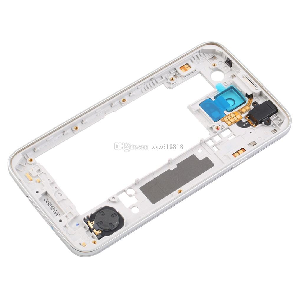 for Samsung Galaxy S5 G900 G900A G900T G900P G900 G900F Middle Frame Plate Bezel Cover Housing Chassis with Back Camera Glass Lens