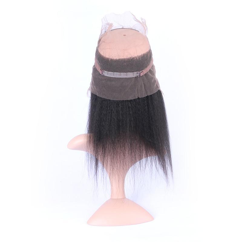 Бразильский Kinky прямая Девы волос Утков с диапазоном 360 кружева фронтальная 22.5x4x2 грубая Яки 360 полный кружева фронтальная закрытие с 3Bundles