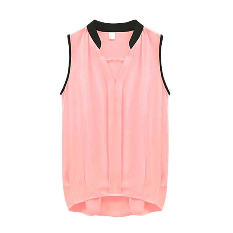 Women S Sleeveless Vest Casual Business Loose Tops Blouse Chiffon
