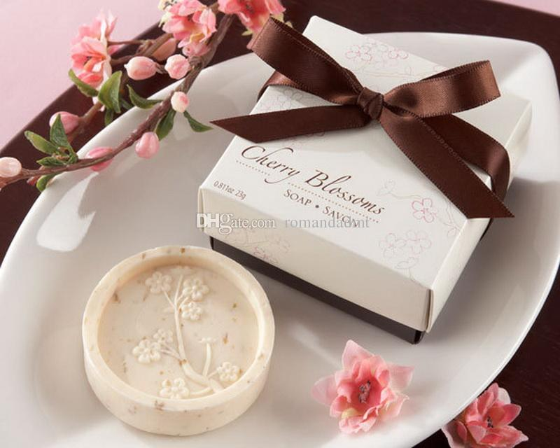 European Style Cherry Blossom Handmade Soap Scented Flower Craft Soap Wedding Favor Gift With Gift Box Dhl Free Shipping