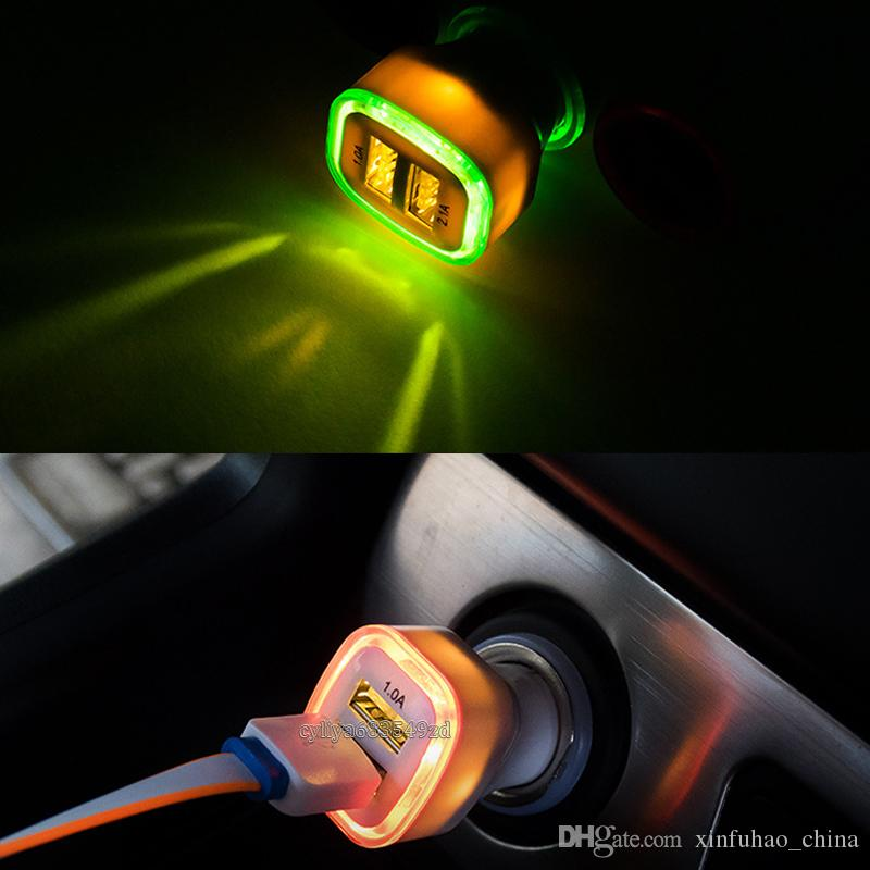Rocket Design LED light 5v 2a Dual USB Car Charger adapter For smart phone and android phone Universal coche de Cargador