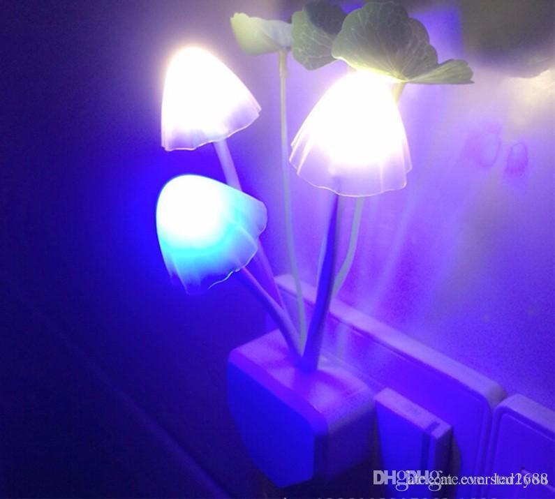 Conduit De Lumière D'énergie Champignon D'économie Nuit Prise Colorée Lampe Légère Petite Mur Pn0Owk