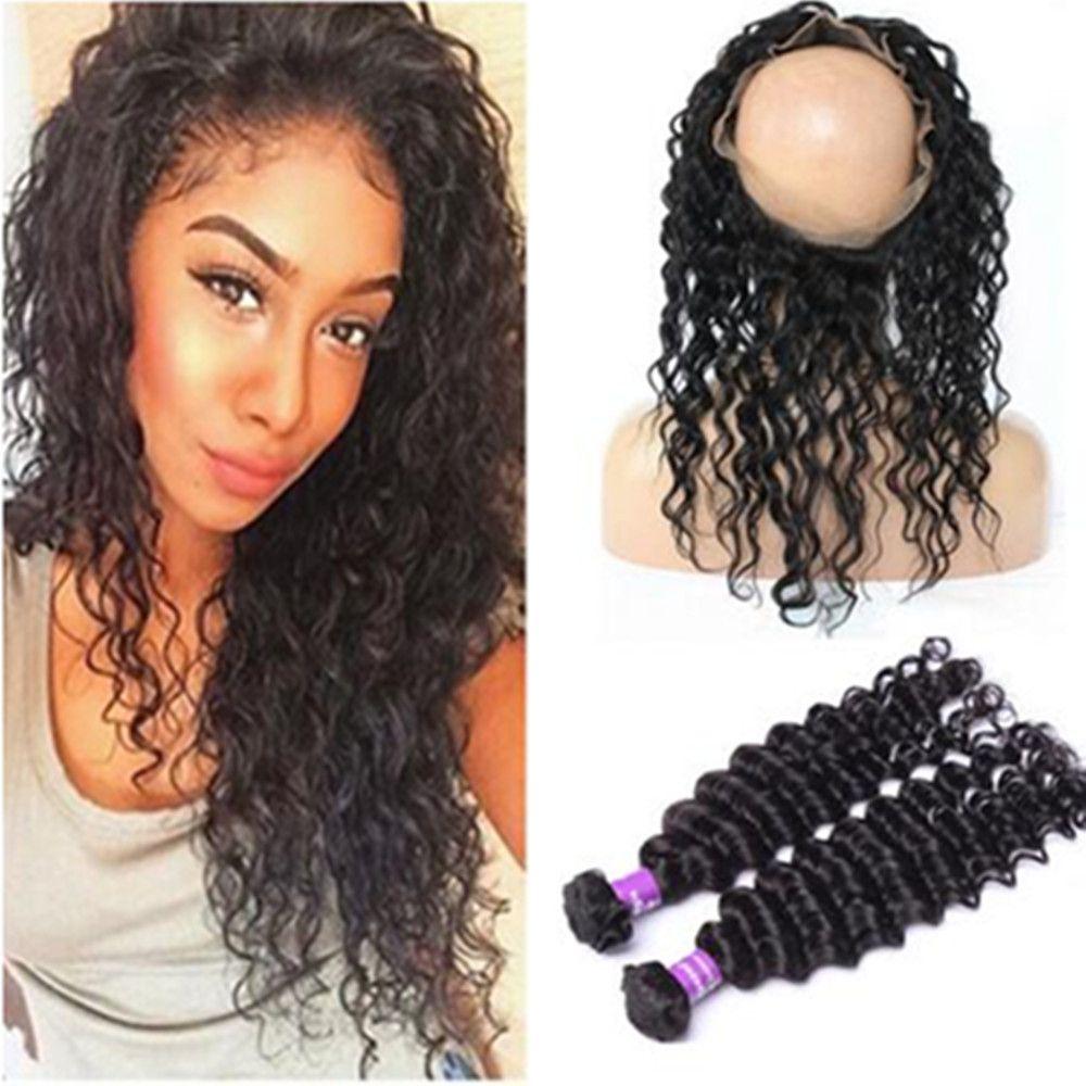 Hot 8a Malaysian Curly Hair 360 Lace Frontal Closure Deep Hair
