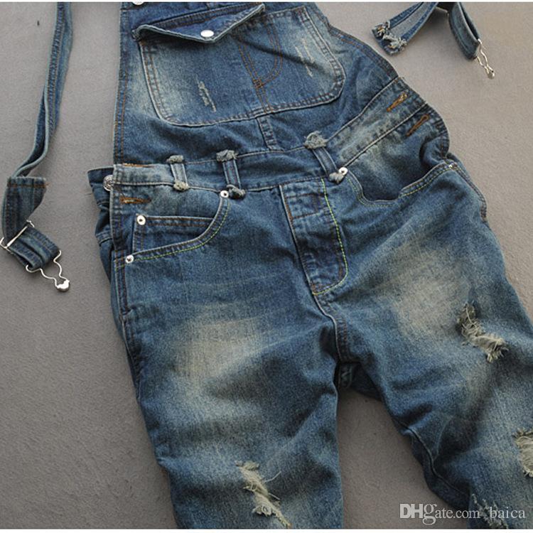 Gros-New Fashion Hommes Bretelles multi-poches jeans bretelles détachables bavoirs pantalon trous salopette en denim W28-34 Livraison gratuite D095