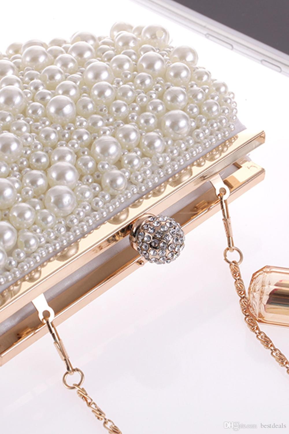 2017 Hot Cheap Crystal Pearls Bridal Bags with Chain Women Wedding Evening Prom Party Handbag Shoulder Bags Clutch Bags CPA960