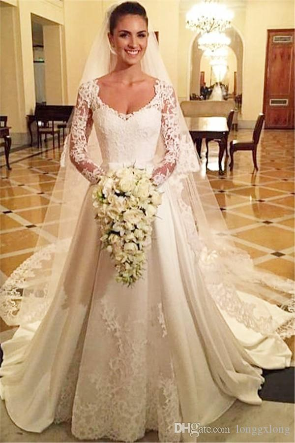 Discount Aline Wedding Dresses 2017 Square Long Sleeves Bridal Gowns ...