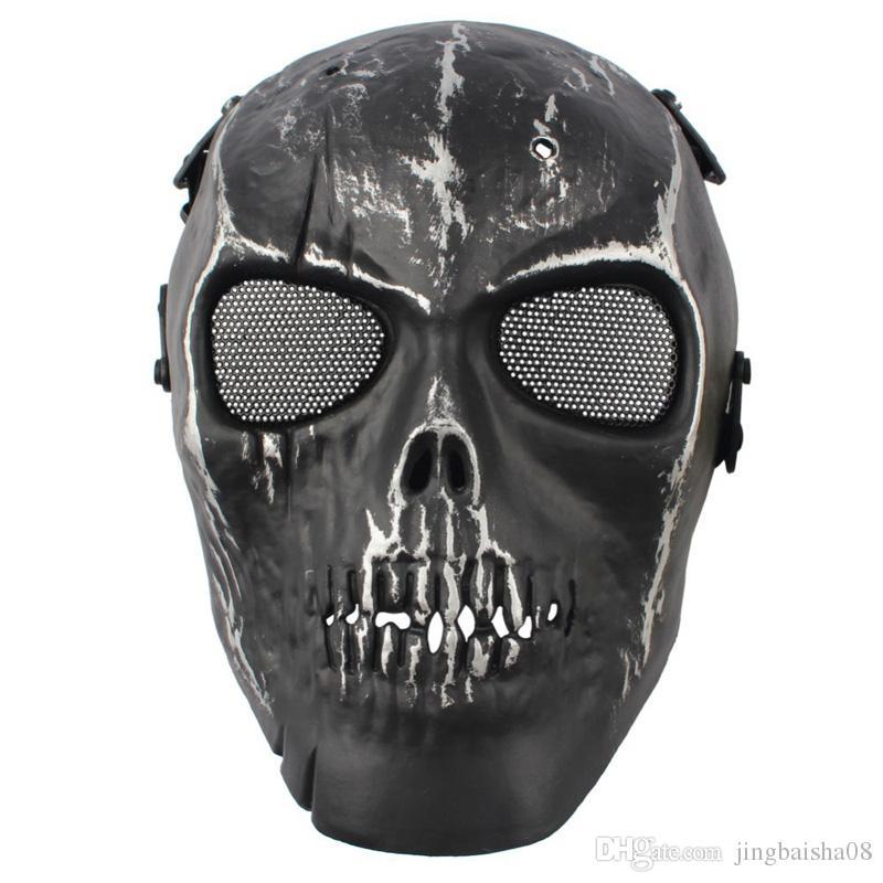 2016 Армия Сетка Полнолицевая Маска Череп Скелет Airsoft Пейнтбол BB Gun Игры Защитить Маска Безопасности