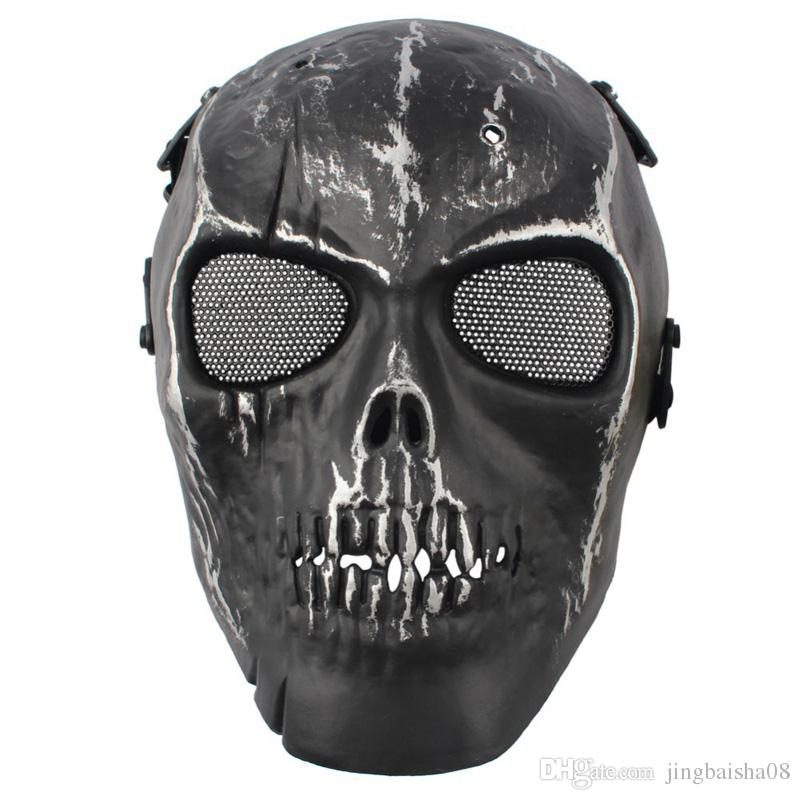 2016 Army Mesh Full Face Mask Skull Skeleton Airsoft Paintball BB Gun Game proteggere la maschera di sicurezza