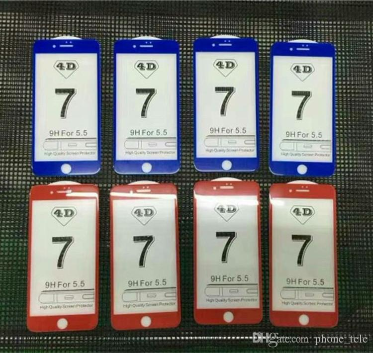 4D Curved Glass Tempered Glass Front 4D Full Cover Protector de pantalla de vidrio templado Protectores de pantalla rojos chinos para iphone 7 6 6 s plus 7G