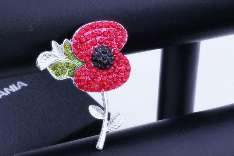 Nuovo design di lusso Regno Unito Remebrance Day regalo tono oro rosso Diamante cristallo papavero pin spilla bella papavero fiore spilla DHL LIBERA il trasporto