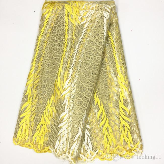 5 ярдов / ПК Горячая распродажа Зеленый и желтый вышивка Французская чистая кружева со стразами африканские сетки кружева для платья BN66-4