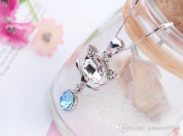 2017 new Qianse using SWAROVSKI elements crystal necklace pendant accessories wholesale manufacturers of high-end small fox sale