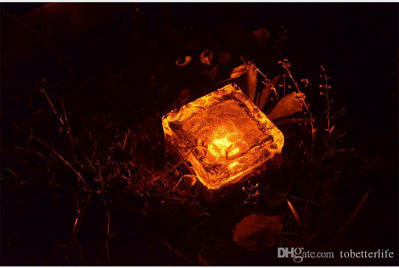 Design criativo Led solar lâmpada de gelo em forma de cubo de luz em forma de jardim solar luz do jardim multi cores sem fio undergroud lâmpada do gramado branco azul