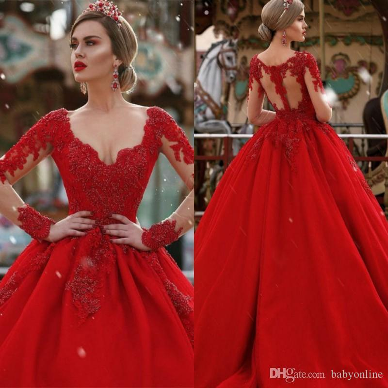 2019 Custom Make Long Sleeves Wedding Dresses Plunging V-neck Lace Appliqued Red Puffy Long Arabic Dubai Formal Party Wear Gowns Celebrity
