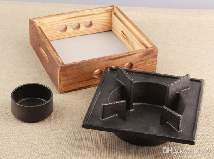 mini ghisa griglie tavolo bbq griglia superiore barbecue stufa barbecue teppanyaki portatili paio singolo padella di ferro e stufa 024-1