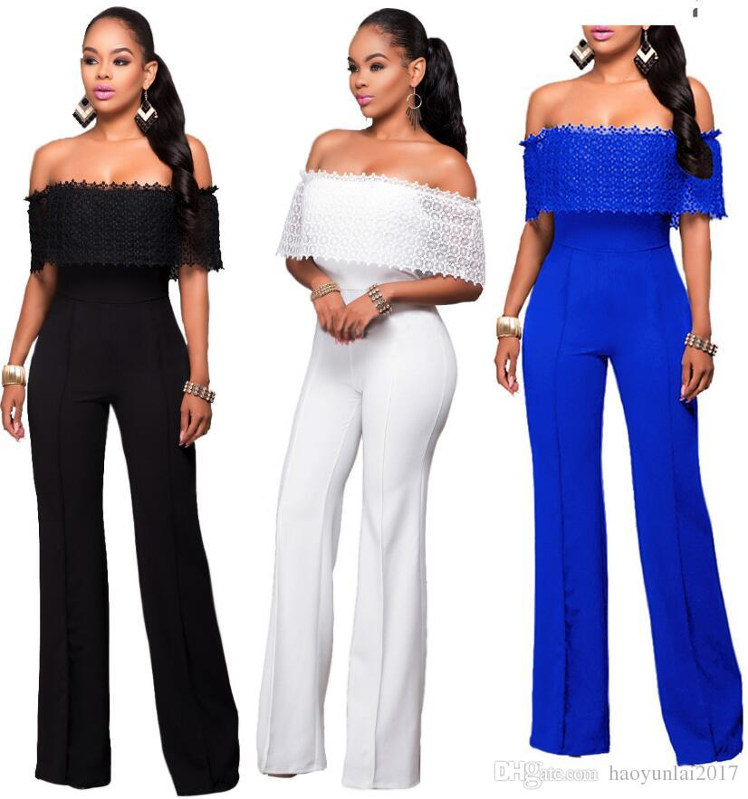 2fb01a45d91 2019 Sexy Off Shoulder Womens Jumpsuit 2017 Summer Sleeveless Lace Wide Leg  Pants Jumpsuits Rompers Collow Out Sexy Slim Wide Legs Long Jumpsuits From  ...