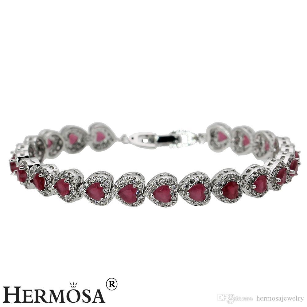 Links Bracelet For Women Love Heart Sterling Silver Hermosa Jewelry Gemstone Emerald Topaz Ruby Garnet Beautiful Chain 7 Inch