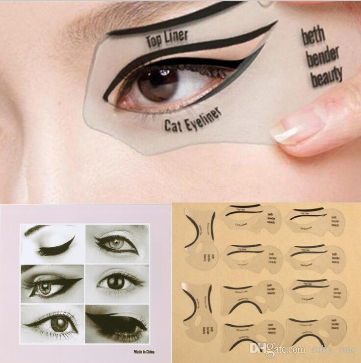 image regarding Printable Eyebrow Stencil identified as 10computer systems/fastened Elegance Cat Eyeliner Stencil Smokey Eye Stencil Template Shaper Smokey Eye Eyeliner Make-up Resource Eyeliner Layouts Template KKA2447